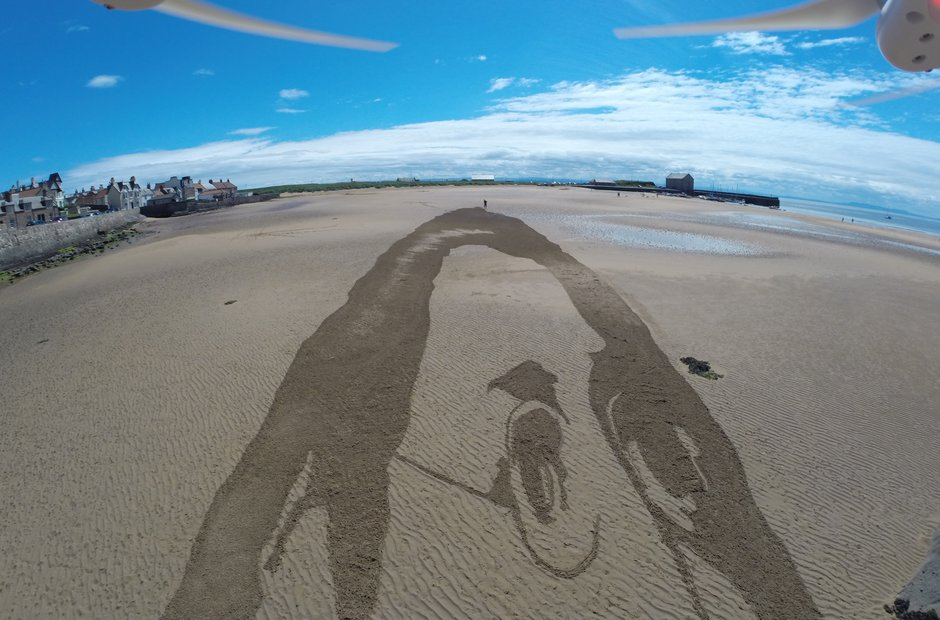 Schubert sand drawing on Elie Beach
