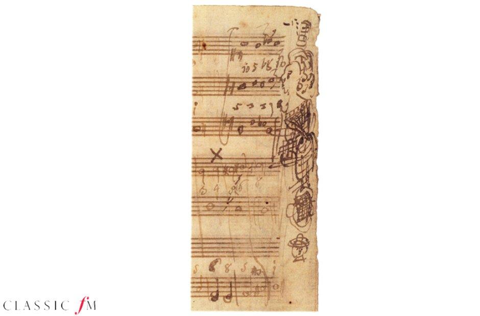 Mozart embellished manuscript doodle