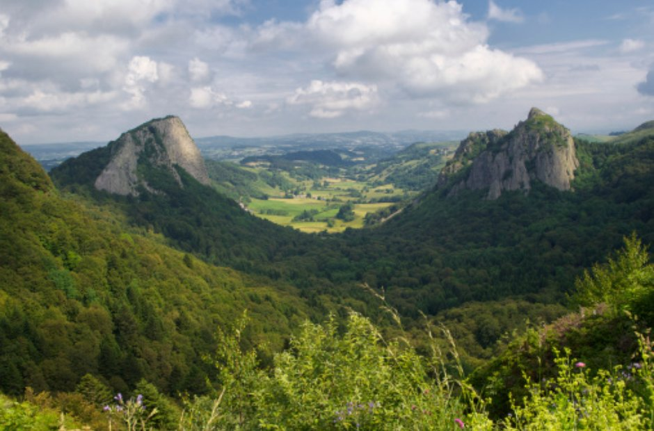 Auvergne mountains countryside France