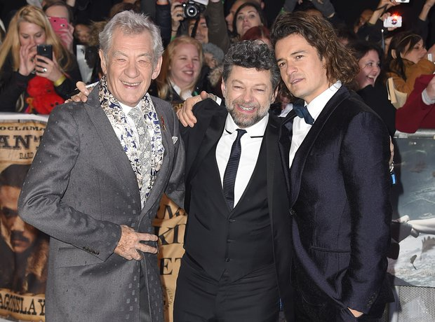 Ian McKellen, Andy Serkis and Orlando Bloom