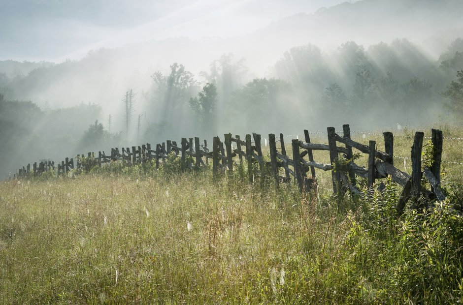Blue Ridge Parkway Wooden Fence Summer Sunrise