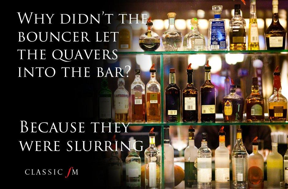 Music jokes quavers in a bar