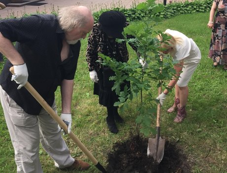Peter Donohoe planting a tree