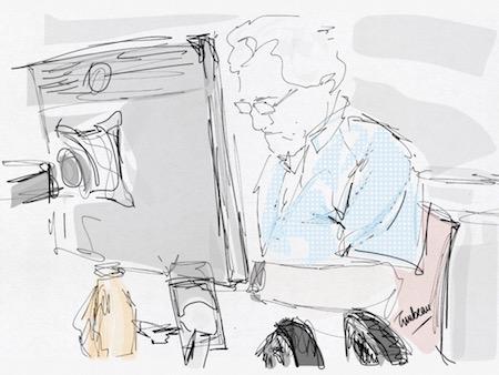 John Suchet portrait by Tim Lihoreau