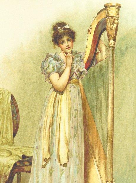 British Library archive harpist Victorian maiden