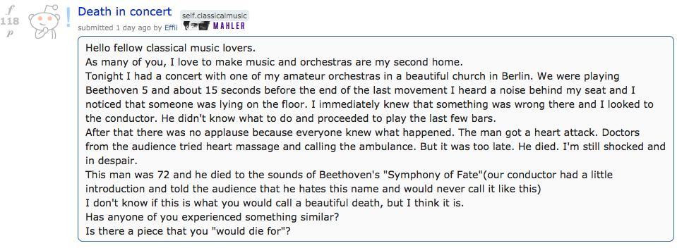 reddit concert death story