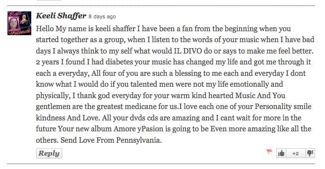 Il Divo fan message Keeli