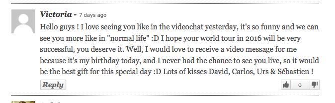 Il Divo fan message Victoria
