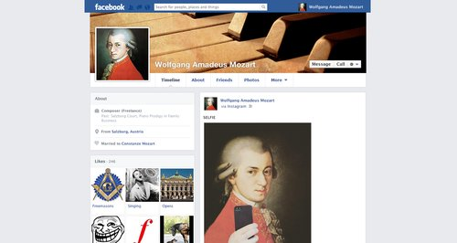 if composers had facebook mozart s profile classic fm