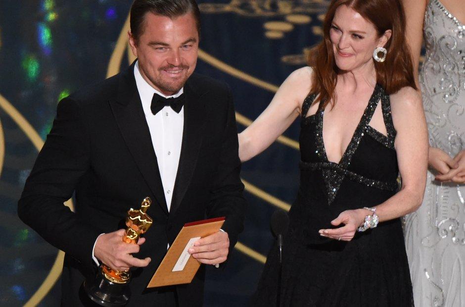 Leonardo DiCaprio wins at the Oscars 2016