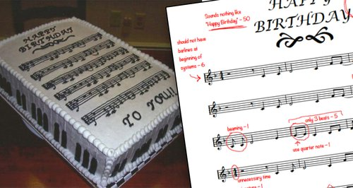 A music theory geek totally tore apart this Happy Birthday cake