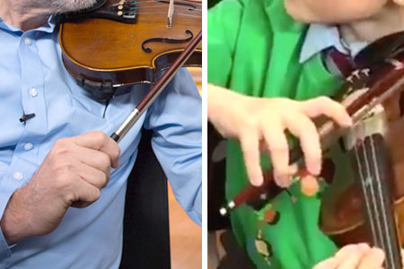 Jeremy Corbyn's violin bow-hold