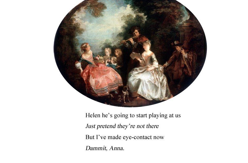 Women listening to men in art
