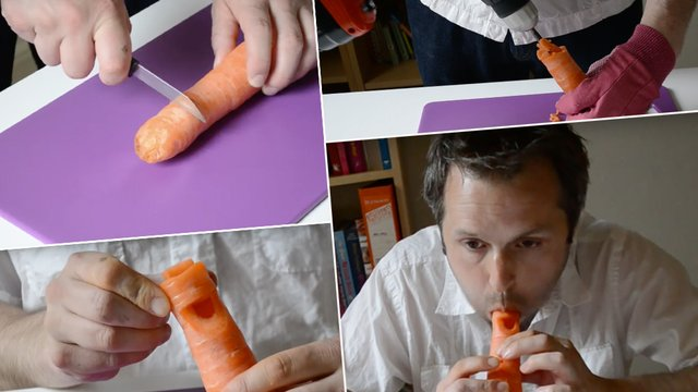 how to make a carrot into a recorder