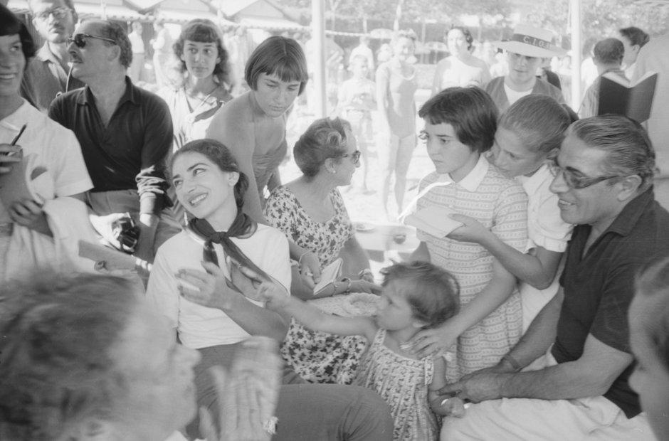 Maria Callas signing autographs