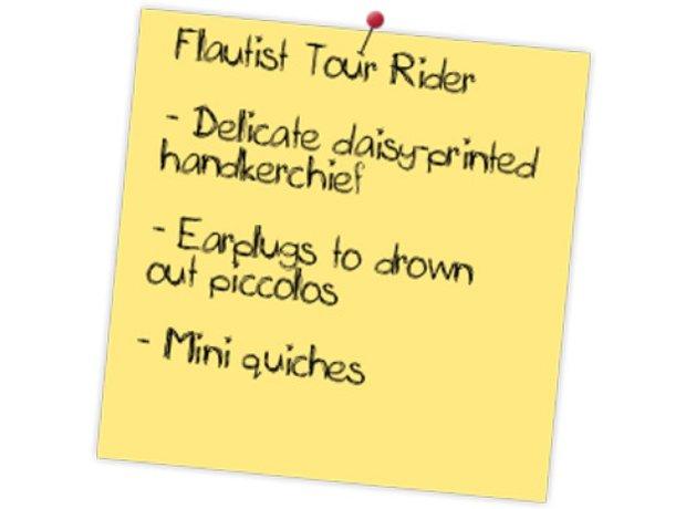 Flautist tour rider