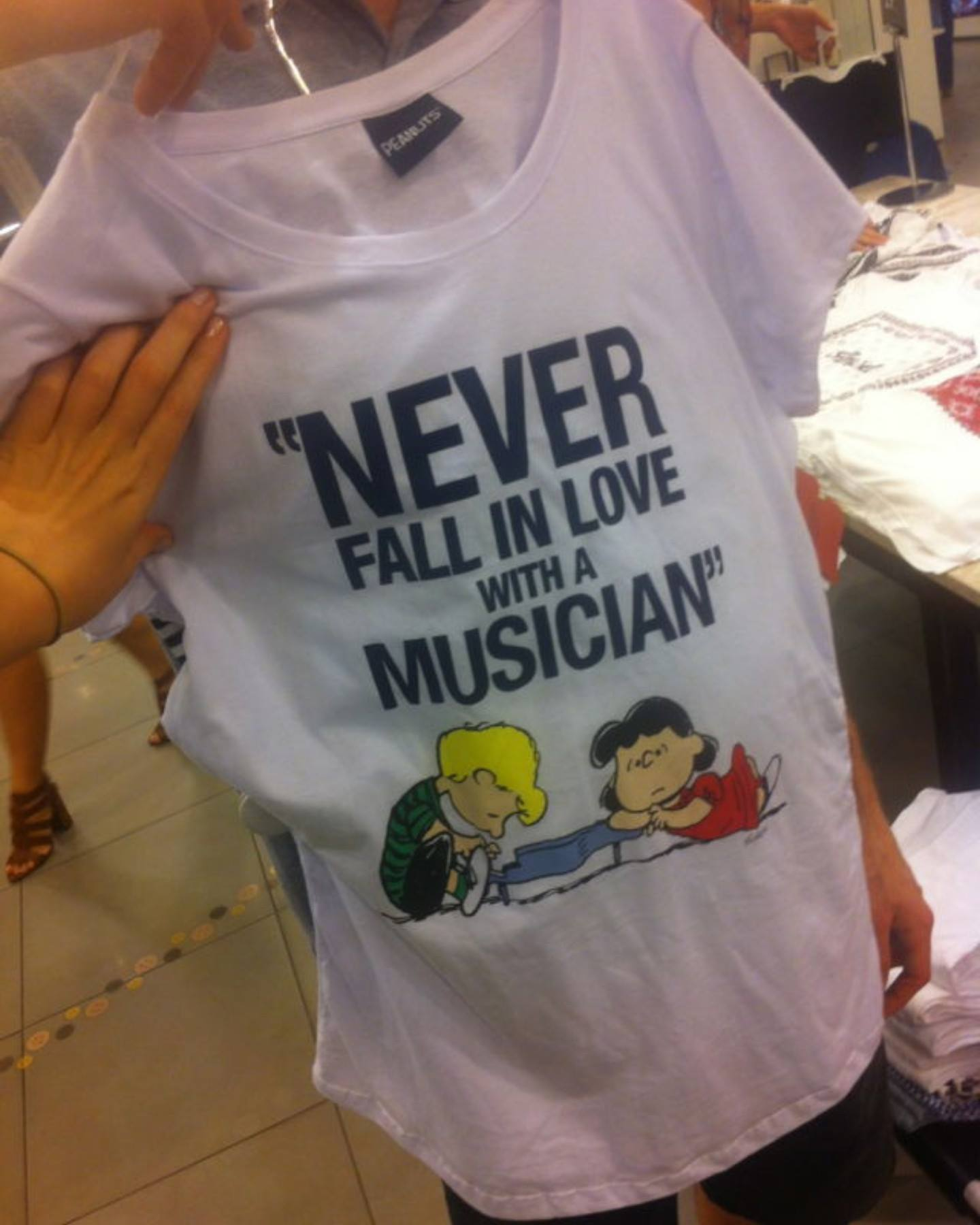 never fall in love with a musician t-shirt