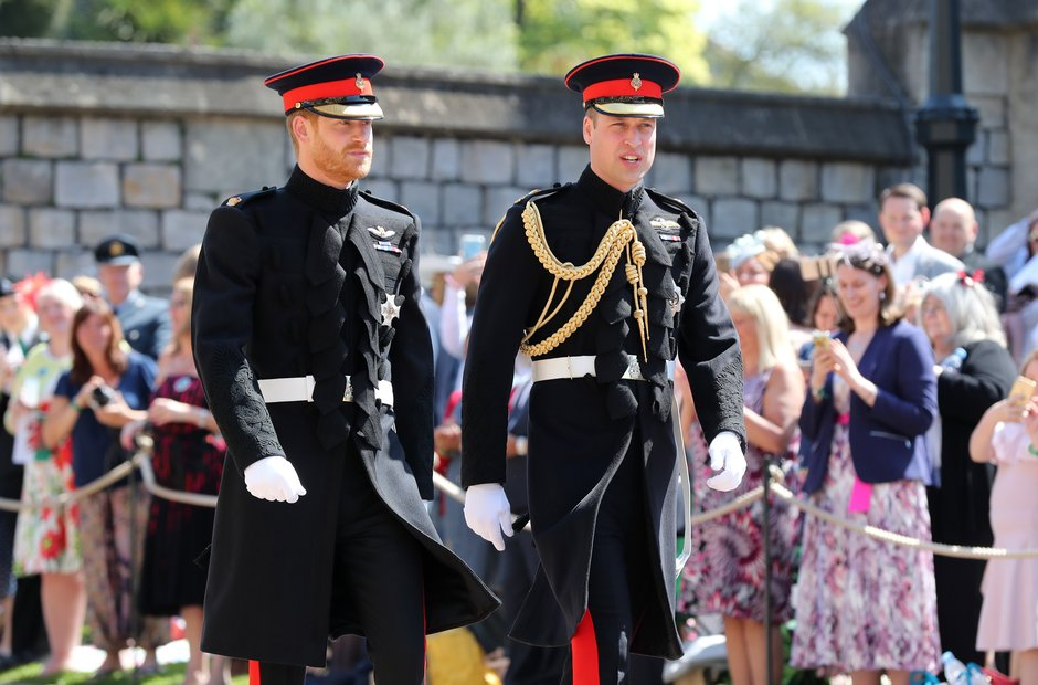 Prince Harry (left) and the Duke of Cambridge arri