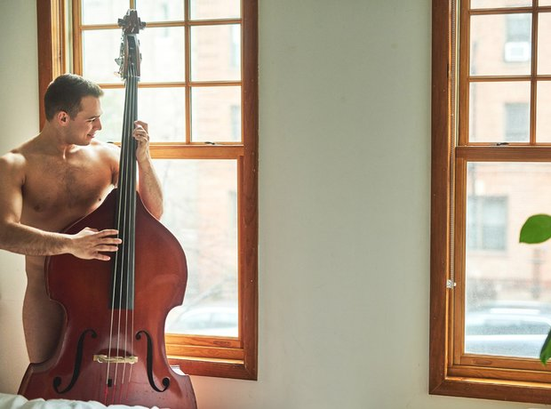 Naked double bassist